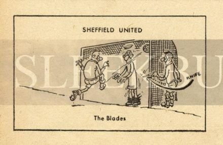 VINTAGE Football Print SHEFFIELD UNITED - THE BLADES Funny Cartoon